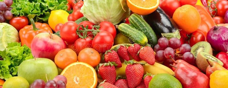 Panoramische inzamelings gezonde vruchten en groenten stock afbeeldingen