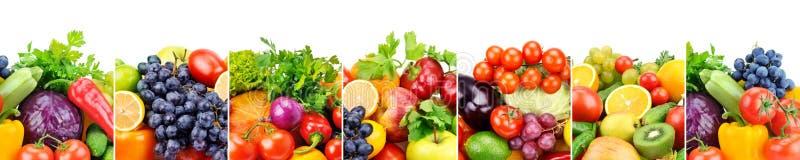 Panoramische inzamelings verse die vruchten en groenten op whi worden geïsoleerd stock foto's