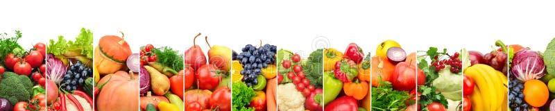 Panoramische inzamelings verse die vruchten en groenten op whi worden geïsoleerd stock afbeelding