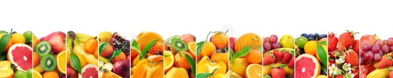 Panoramische inzamelings verse die vruchten op wit worden geïsoleerd royalty-vrije stock afbeeldingen
