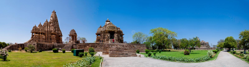 Panoramische Khajurahotempel, India royalty-vrije stock foto