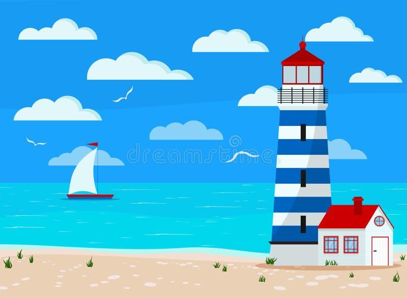 Panoramische Landschaft des ruhigen Sees: blauer Ozean, Wolken, Sandküstenlinie mit Gras, Möve, Segelboot, Leuchtturm lizenzfreie abbildung