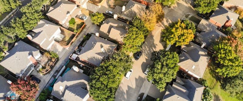 Panoramische lucht hoogste mening van onderverdeling in de voorsteden dichtbij Dallas, T stock afbeelding