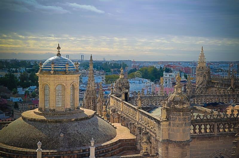 Panoramische luchtcityscape van de stad van Sevilla van Kathedraal, Spanje stock foto's