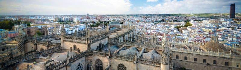 Panoramische luchtcityscape van de stad van Sevilla van Kathedraal, Spanje stock fotografie