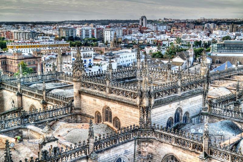 Panoramische luchtcityscape van de stad van Sevilla van Kathedraal in Spanje stock fotografie