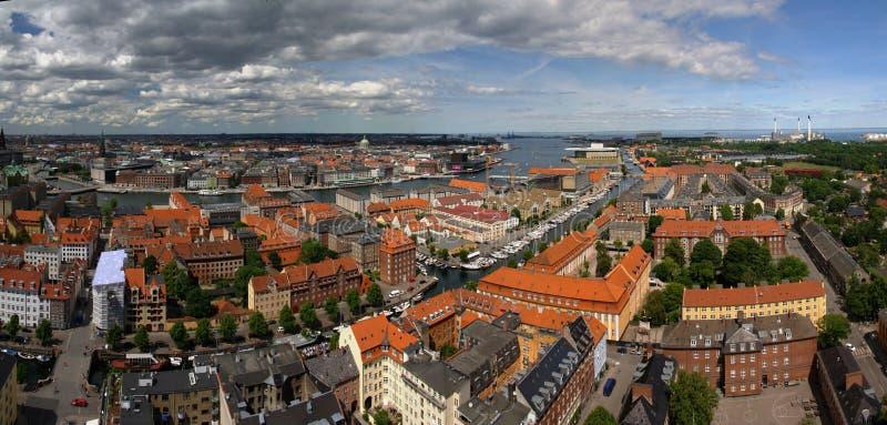 Panoramische luchtcityscape van de stad van Kopenhagen, Denemarken royalty-vrije stock afbeelding