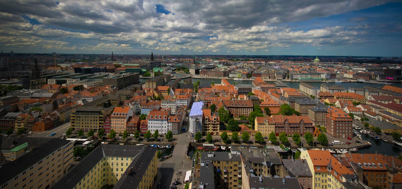 Panoramische luchtcityscape van de stad van Kopenhagen, Denemarken stock afbeeldingen