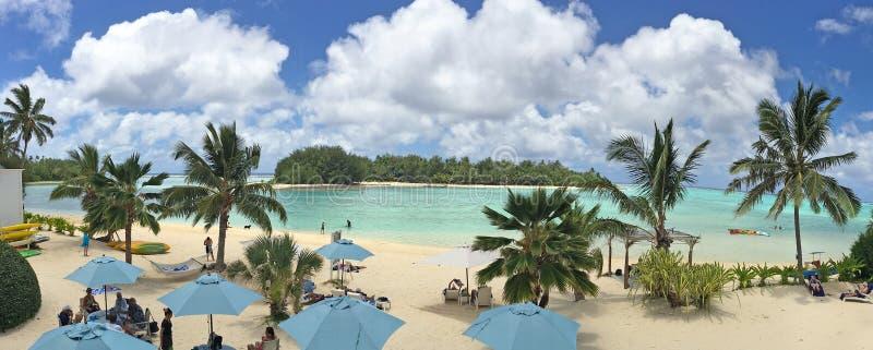 Panoramische luchtlandschapsmening van in Rarotonga Cook Islands royalty-vrije stock foto