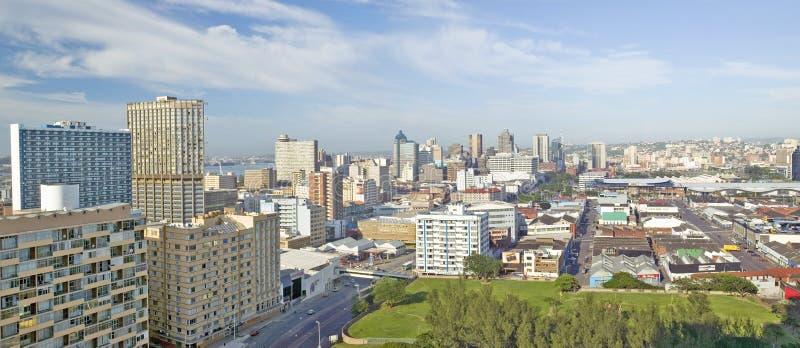 Panoramische luchtmening de horizon van van Durban, Zuid-Afrika royalty-vrije stock foto