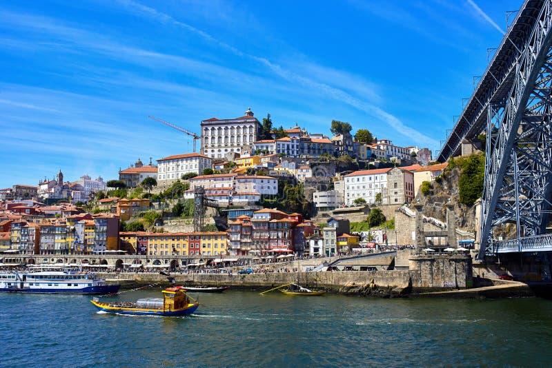 Panoramische luchtmening van Porto in een mooie de zomerdag, Portugal stock fotografie