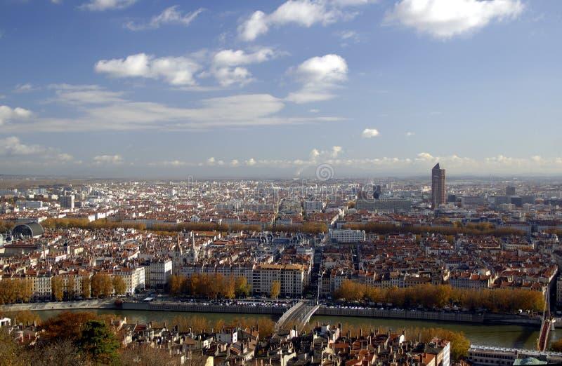 Panoramische Luftaufnahme in Lyon stockfotografie