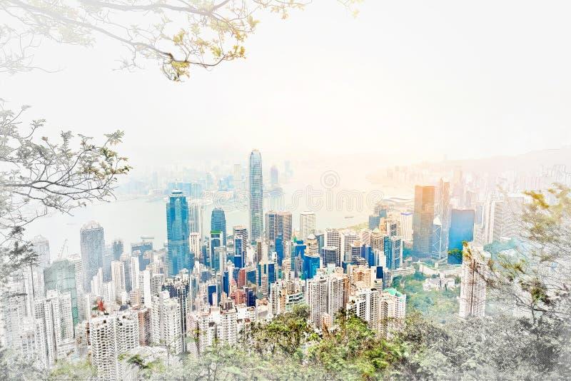 Panoramische moderne cityscape de bouwmening van Hong Kong-illustratie van de mengelings de hand getrokken schets royalty-vrije stock foto