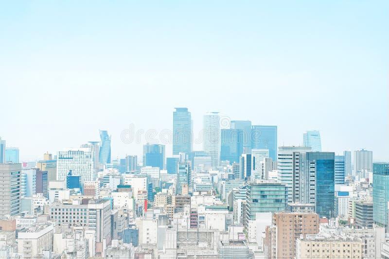 Panoramische moderne cityscape de bouwmening van Nagoya, Japan Illustratie van de mengelings de hand getrokken schets stock foto's