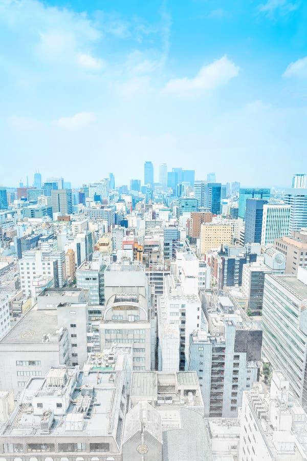 Panoramische moderne cityscape de bouwmening van Nagoya, Japan Illustratie van de mengelings de hand getrokken schets royalty-vrije stock foto