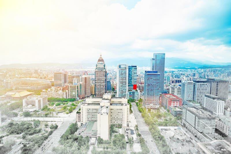Panoramische moderne cityscape de bouwmening van Taipeh, Taiwan Illustratie van de mengelings de hand getrokken schets royalty-vrije stock foto's