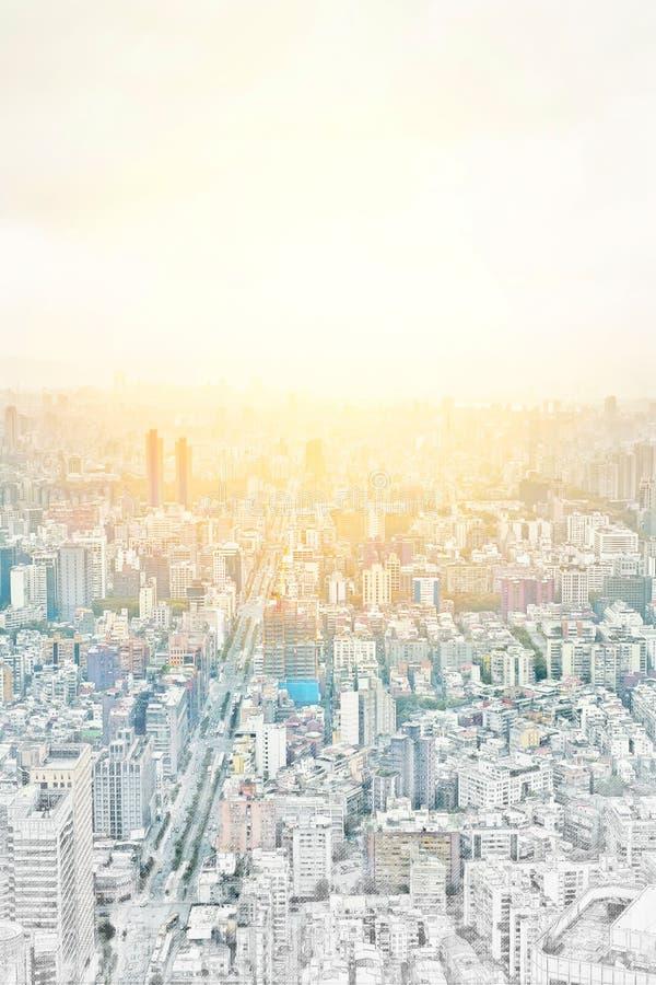 Panoramische moderne Stadtbildgebäudeansicht von Taipeh, Taiwan Gezeichnete Skizzenillustration der Mischung Hand lizenzfreie abbildung