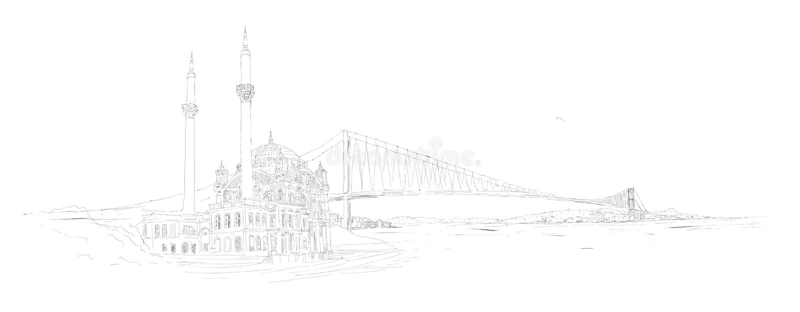 Panoramische ortakoy Moschee Istanbuls des Vektors stock abbildung