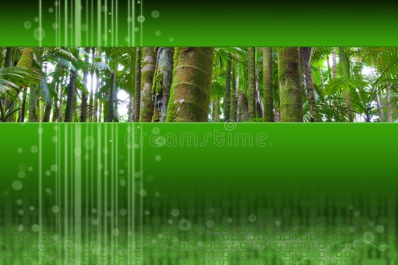 Panoramische Palmenwaldeinfügung auf grüner moderner Auslegung lizenzfreie abbildung