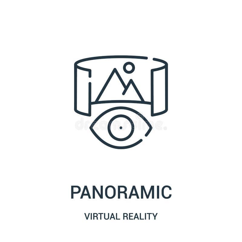 panoramische pictogramvector van virtuele werkelijkheidsinzameling Dunne het pictogram vectorillustratie van het lijn panoramisch vector illustratie