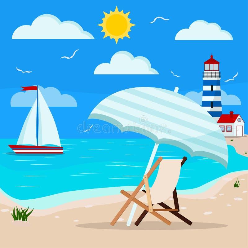 Panoramische Seelandschaft: ruhiger blauer Ozean, Wolken, Möve, Segelboot, Leuchtturm, Sonnenruhesessel mit Sonnenschirm vektor abbildung