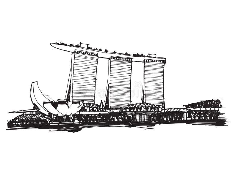 Panoramische Singapur-Stadt der Handlungsfreiheitszeichnungsskizze lizenzfreie abbildung