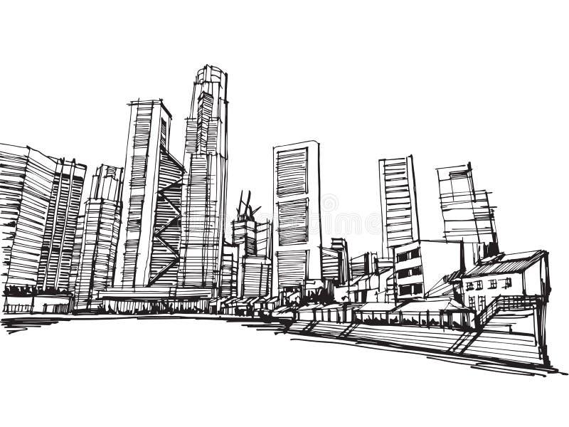 Panoramische Singapur-Stadt des Handlungsfreiheitszeichnungsskizzenvektors lizenzfreie abbildung