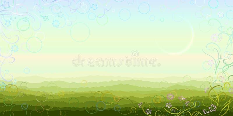 Panoramische Sommermorgenlandschaft vektor abbildung