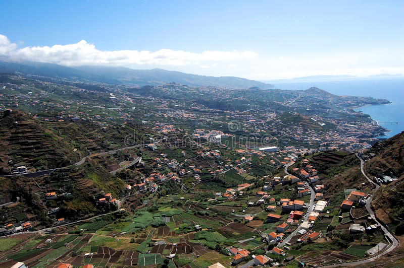 Panoramische stad Funchal royalty-vrije stock afbeeldingen