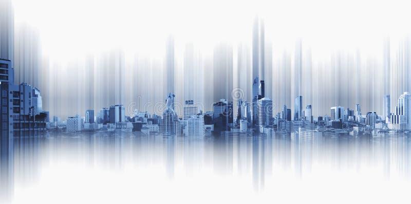 Panoramische stad op zwarte achtergrond, de verbinding van de technologiestad royalty-vrije stock fotografie