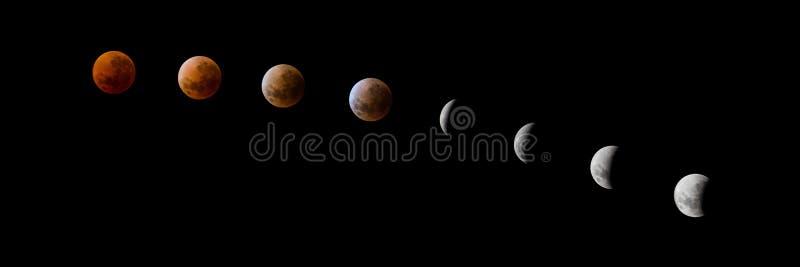 Panoramische super Mondeklipsereihenfolge des blauen Bluts lizenzfreie stockfotos
