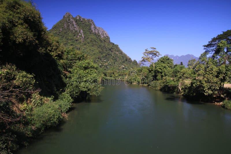 Panoramische toneelmening van Nam Song Xong-rivier in het midden van bomen en landelijk karst heuvelslandschap tegen blauwe duide royalty-vrije stock foto