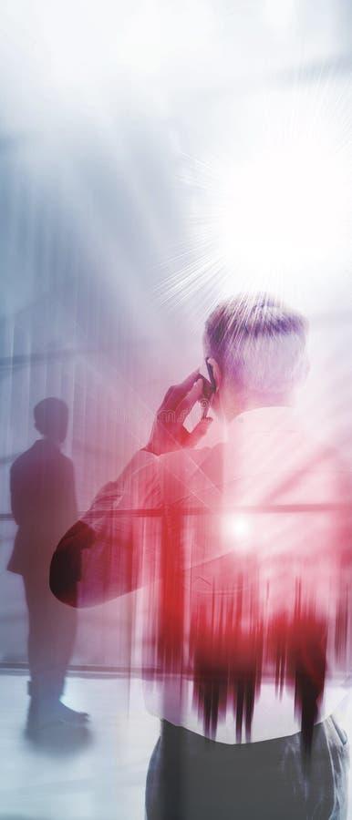 Panoramische verticale gemengde media abstracte achtergrond Website verticale bedrijfskopbal royalty-vrije stock afbeeldingen