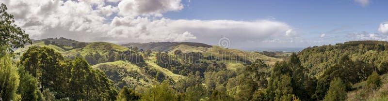 Panoramische Vogelperspektive von Apollo Bay- und Barham-Paradies szenische Reserve entlang der großen Ozean-Straße, Victoria, Au lizenzfreie stockfotografie