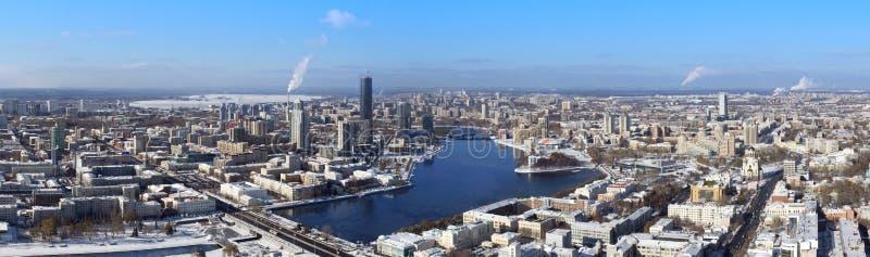 Panoramische Vogelperspektive von Jekaterinburg, Russland stockbilder