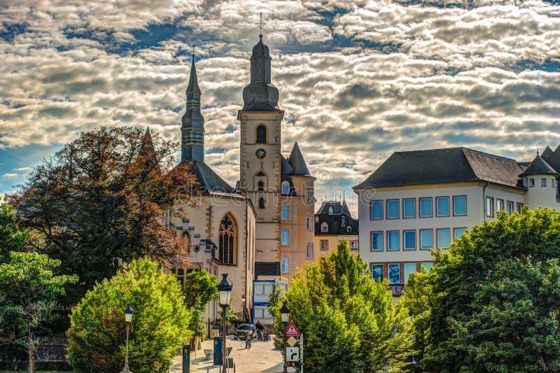 Panoramische Vogelperspektive von Luxemburg stockbild