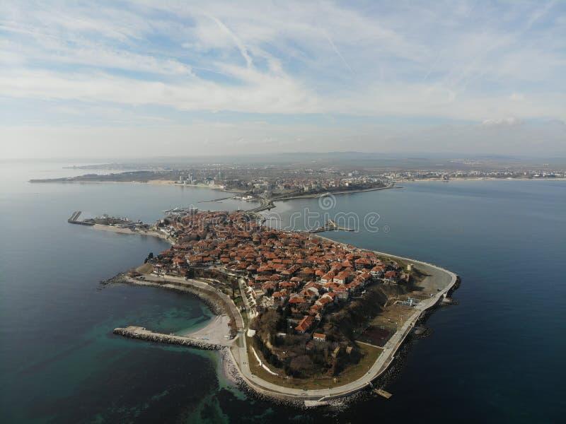 Panoramische Vogelperspektive von Nessebar lizenzfreies stockbild