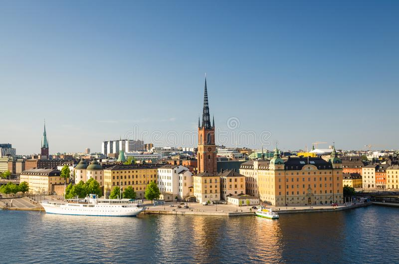 Panoramische von der Luftdraufsicht von Riddarholmen-Bezirk, Stockholm, S lizenzfreies stockfoto