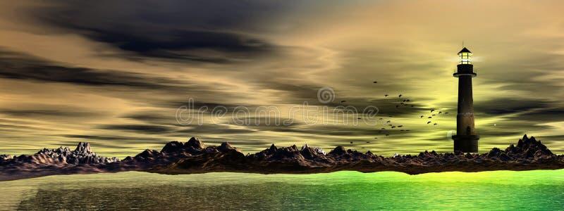 Panoramische vuurtoren en overzees, royalty-vrije stock foto's