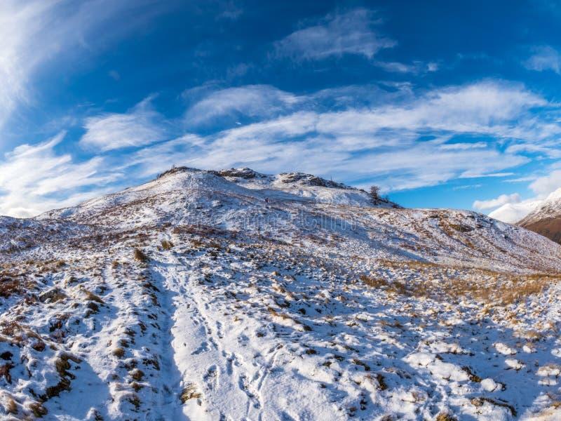 Panoramische Winterlandschaften in den schottischen Hochländern stockbild