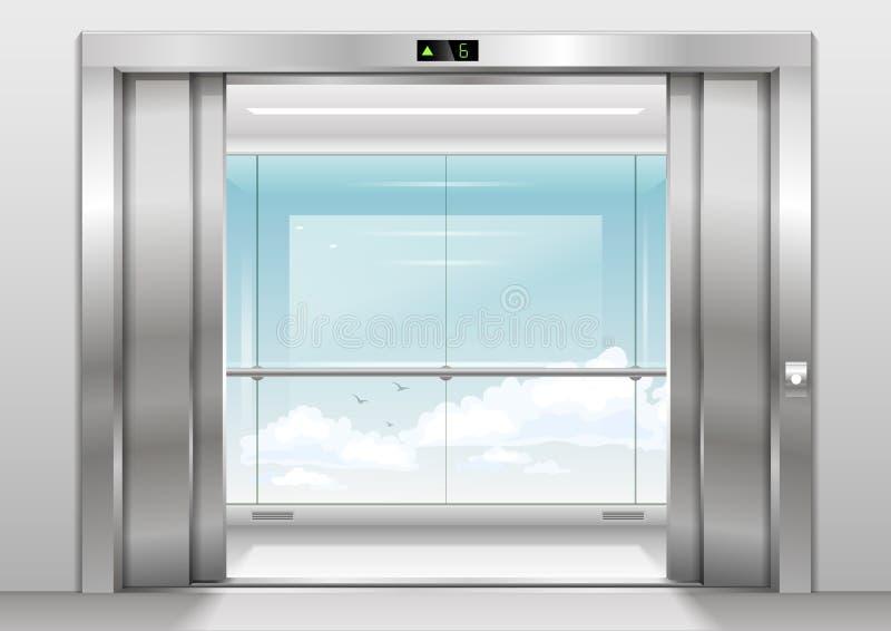 Panoramischer Aufzug im Freien lizenzfreie abbildung
