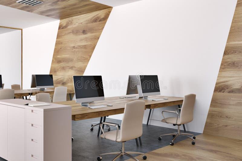 Panoramischer Büromarmorierungabschluß des offenen Raumes herauf Seite stockfoto