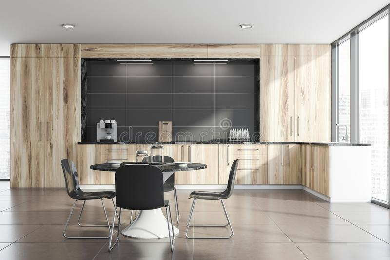 Panoramischer Kücheninnenraum mit Rundtisch lizenzfreie abbildung