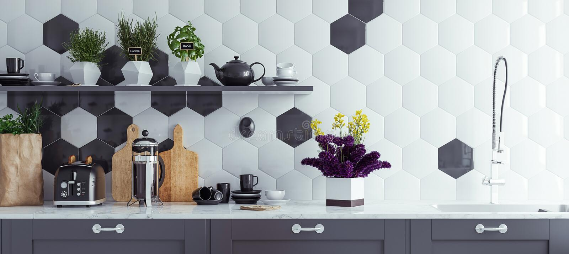 Panoramischer moderner Kücheninnenraumhintergrund stockbild