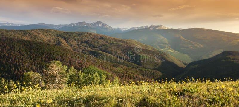 Panoramischer Rocky Mountain Peak View bei Sonnenuntergang Vail Colorado lizenzfreie stockfotografie