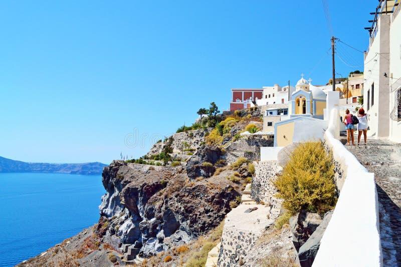 Panoramischer Weg zu Insel Griechenland Fira Santorini lizenzfreies stockfoto