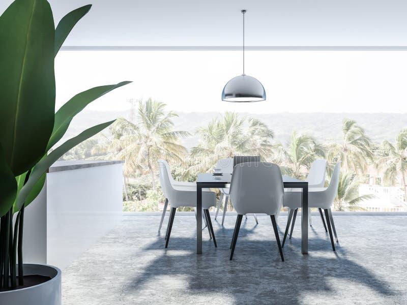 Panoramischer weißer Esszimmerinnenraum, Palmen vektor abbildung