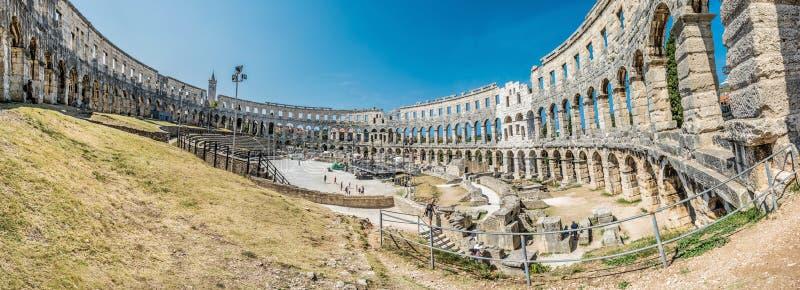 Panoramisches Foto der Pula-Arena, Istria, Kroatien lizenzfreies stockbild