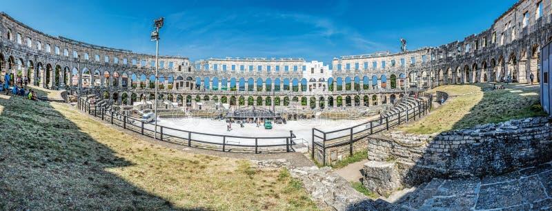 Panoramisches Foto der Pula-Arena, Istria, Kroatien stockfotografie