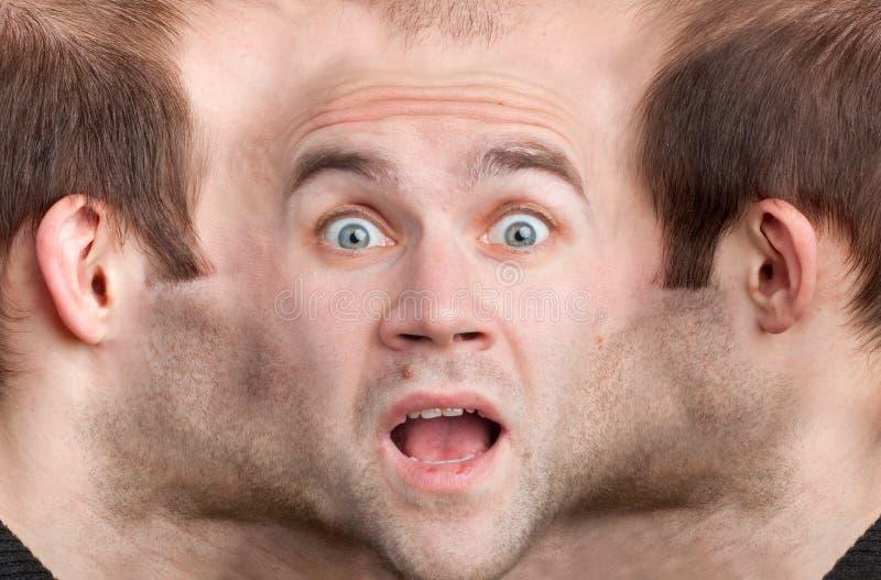Panoramisches Gesicht des erschrockenen Mannes lizenzfreies stockfoto